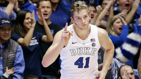 <p>               Duke's Jack White (41) reacts following a 3-point basket against Clemson during the first half of an NCAA college basketball game in Durham, N.C., Saturday, Jan. 5, 2019. (AP Photo/Gerry Broome)             </p>