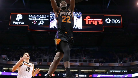 <p>               Phoenix Suns center Deandre Ayton (22) dunks against the Denver Nuggets in the second half during an NBA basketball game, Saturday, Jan. 12, 2019, in Phoenix.  (AP Photo/Rick Scuteri)             </p>