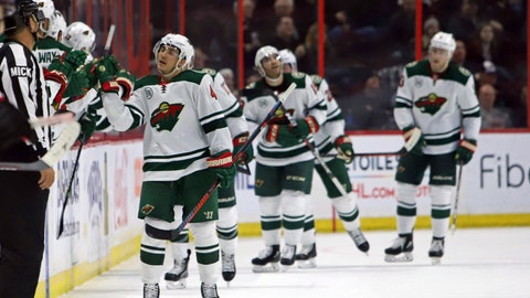 <p>               Minnesota Wild's Jared Spurgeon, left, celebrates scoring against the Ottawa Senators  during the second period of an NHL hockey game in Ottawa, Saturday, Jan. 5, 2019. (Fred Chartrand/The Canadian Press via AP)             </p>
