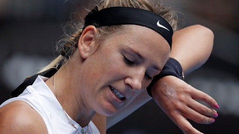 <p>               Victoria Azarenka of Belarus wipes sweat from her face during her first round match against Germany's Laura Siegemund at the Australian Open tennis championships in Melbourne, Australia, Tuesday, Jan. 15, 2019. (AP Photo/Aaron Favila)             </p>