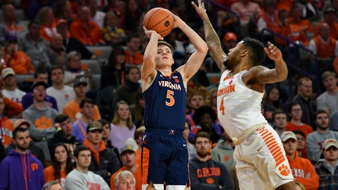 <p>               Virginia's Kyle Guy shoots a 3-pointer over Clemson's Shelton Mitchell during the first half of an NCAA college basketball game Saturday, Jan. 12, 2019, in Clemson, S.C. (AP Photo/Richard Shiro)             </p>