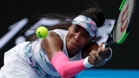 <p>               United States' Venus Williams makes a backhand return to Romania's Mihaela Buzarnescu during their first round match at the Australian Open tennis championships in Melbourne, Australia, Tuesday, Jan. 15, 2019. (AP Photo/Mark Schiefelbein)             </p>