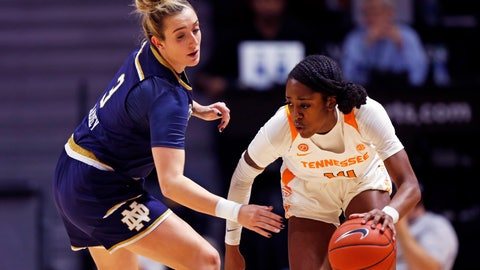 <p>               Tennessee guard Zaay Green (14) drives around Notre Dame guard Marina Mabrey (3) during the first half of an NCAA college basketball game Thursday, Jan. 24, 2019, in Knoxville, Tenn. (AP Photo/Wade Payne)             </p>