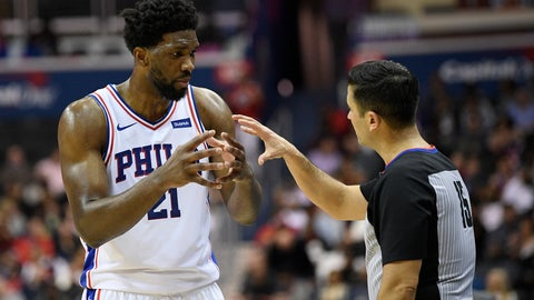 <p>               Philadelphia 76ers center Joel Embiid (21) talks with referee Zach Zarba (15) during the first half of an NBA basketball game against the Washington Wizards, Wednesday, Jan. 9, 2019, in Washington. (AP Photo/Nick Wass)             </p>