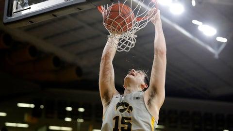 <p>               Iowa forward Ryan Kriener dunks the ball during the second half of an NCAA college basketball game against Nebraska, Sunday, Jan. 6, 2019, in Iowa City, Iowa. (AP Photo/Charlie Neibergall)             </p>