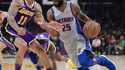 <p>               Detroit Pistons guard Reggie Bullock, right, tries to drive past Los Angeles Lakers forward Michael Beasley during the first half of an NBA basketball game Wednesday, Jan. 9, 2019, in Los Angeles. (AP Photo/Mark J. Terrill)             </p>