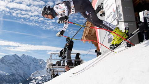 <p>               Bryce Bennett of the USA in action during a training session for the men's downhill race at the Alpine Skiing FIS Ski World Cup in Wengen, Switzerland, Wednesday, Jan. 16, 2019. (Anthony Anex/Keystone via AP)             </p>