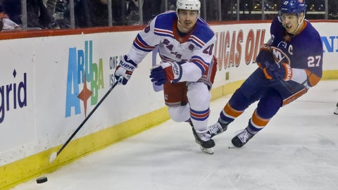 <p>               New York Rangers' Chris Kreider, left, and New York Islanders' Anders Lee chase the puck during an NHL hockey game, Saturday, Jan. 12, 2019, at Barclays Center in New York. (AP Photo/Bebeto Matthews)             </p>