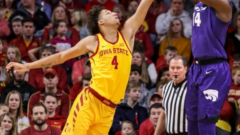 <p>               Iowa State forward George Conditt IV tries to block the shot of Kansas State forward Makol Mawien during the first half of an NCAA college basketball game, Saturday, Jan. 12, 2019, in Ames, Iowa. (AP Photo/Justin Hayworth)             </p>