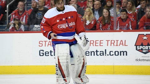 <p>               Washington Capitals goaltender Braden Holtby (70) stands on the ice after he was injured during the second period of an NHL hockey game against the Columbus Blue Jackets, Saturday, Jan. 12, 2019, in Washington. (AP Photo/Nick Wass)             </p>