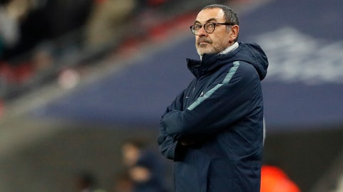 """<p>               FILE - In this Tuesday, Jan. 8, 2019 file photo, Chelsea's team manager Maurizio Sarri stands on the side of the pitch prior to the English League Cup semifinal first leg soccer match between Tottenham Hotspur and Chelsea at Wembley Stadium in London. Amid reports of an imminent move to Chelsea and a mysterious fever, Gonzalo Higuain again lost his cool against his former club in what could have been his last match for AC Milan. Higuain was on the bench for most of Wednesday's Italian Super Cup against Juventus, officially due to """"fever"""", but came on for the final 20 minutes. (AP Photo/Frank Augstein, File )             </p>"""