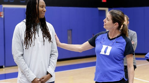 """<p>               Duke women's basketball coach Joanne P. McCallie, right, and former Tennessee player Chamique Holdsclaw speak to Duke players during the team's NCAA college basketball practice in Durham, N.C., Saturday, Jan. 26, 2019. Coach McCallie and Duke hope to erase the stigma of mental health issues with their inaugural """"Mental Wealth Day."""" (AP Photo/Gerry Broome)             </p>"""