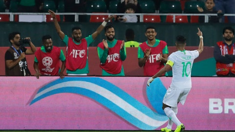 <p>               Saudi Arabia's midfielder Salem al Dawsari celebrates his goal during the AFC Asian Cup group E soccer match between Saudi Arabia and North Korea at the Rashid Stadium in Dubai, United Arab Emirates, Tuesday, Jan. 8, 2019. (AP Photo/Nariman El-Mofty)             </p>