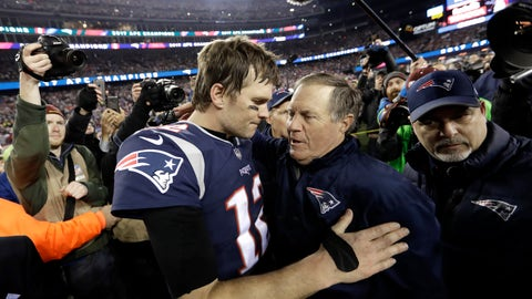<p>               FILE - In this Jan. 21, 2018, file photo, New England Patriots quarterback Tom Brady, left, hugs coach Bill Belichick after the AFC championship NFL football game against the Jacksonville Jaguars in Foxborough, Mass. New England's five Super Bowl champions turned over an average of 19.2 players the season after they won their titles. Brady and Belichick have been the constant. (AP Photo/David J. Phillip, File)             </p>