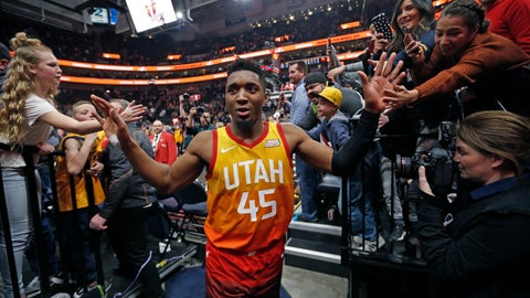 <p>               Fans reach for Utah Jazz guard Donovan Mitchell (45) following their NBA basketball game against the Detroit Pistons Monday, Jan. 14, 2019, in Salt Lake City. (AP Photo/Rick Bowmer)             </p>