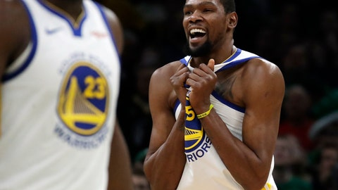 <p>               Golden State Warriors forward Kevin Durant (35) celebrates in the final seconds of an NBA basketball game against the Boston Celtics, Saturday, Jan. 26, 2019, in Boston. (AP Photo/Elise Amendola)             </p>