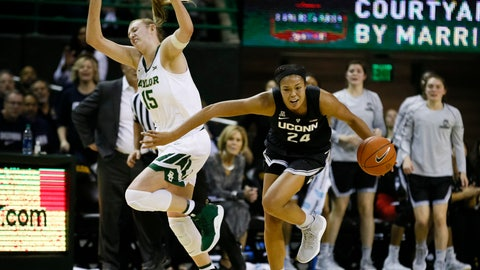 <p>               Connecticut forward Napheesa Collier (24) beats Baylor forward Lauren Cox (15) to the loose ball during the first half of an NCAA college basketball game on Thursday, Jan. 3, 2019, in Waco, Texas. (AP Photo/Ray Carlin)             </p>