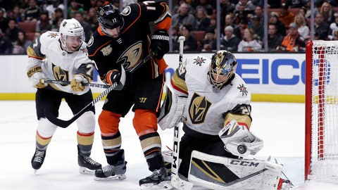 <p>               Vegas Golden Knights goaltender Marc-Andre Fleury, right, stops a shot next to Anaheim Ducks' Ryan Kesler (17) and Golden Knights' William Karlsson, left, during the second period of an NHL hockey game Friday, Jan. 4, 2019, in Anaheim, Calif. (AP Photo/Marcio Jose Sanchez)             </p>