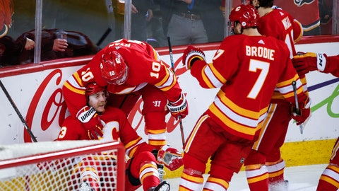 <p>               Calgary Flames' Sam Bennett, bottom left, celebrates his goal against the Detroit Red Wings with teammates during the third period of an NHL hockey game Friday, Jan. 18, 2019, in Calgary, Alberta. (Jeff McIntosh/The Canadian Press via AP)             </p>