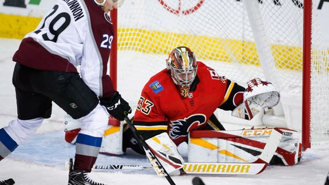 <p>               Colorado Avalanche's Nathan MacKinnon, left, tries to get the puck past Calgary Flames goalie David Rittich, of the Czech Republic, during the first period of an NHL hockey game Wednesday, Jan. 9, 2019, in Calgary, Alberta. (Jeff McIntosh/The Canadian Press via AP)             </p>