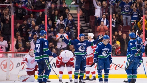 <p>               Vancouver Canucks left wing Antoine Roussel (26) celebrates his goal against the Detroit Red Wings during third-period NHL hockey game action in Vancouver, British Columbia, Sunday, Jan 20, 2019. (Jonathan Hayward/The Canadian Press via AP)             </p>