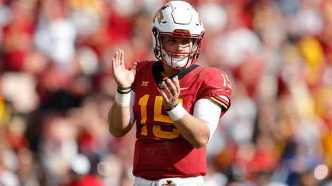 <p>               FILE - In this Oct. 27, 2018, file photo, Iowa State quarterback Brock Purdy reacts at the end of an NCAA college football game against Texas Tech, in Ames, Iowa.  (AP Photo/Charlie Neibergall, File)             </p>