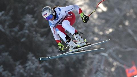 <p>               Switzerland's Corinne Suter is airborne during an alpine ski, women's World Cup downhill training, in Garmisch Partenkirchen, Germany, Friday, Jan. 25, 2019. (AP Photo/Marco Tacca)             </p>