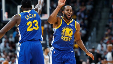 <p>               Golden State Warriors forward Draymond Green, left, congratulates guard Andre Iguodala after his dunk against the Denver Nuggets in the second half of an NBA basketball game, Tuesday, Jan. 15, 2019, in Denver. The Warriors won 142-111. (AP Photo/David Zalubowski)             </p>