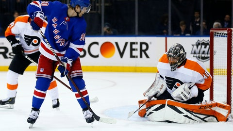 <p>               Philadelphia Flyers goaltender Anthony Stolarz (41) makes a save under his pads on a shot by New York Rangers center Vladislav Namestnikov (90) in the second period of an NHL hockey game Tuesday, Jan. 29, 2019, in New York. (AP Photo/Adam Hunger)             </p>