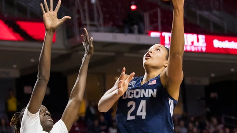 <p>               Connecticut's Napheesa Collier, right, shoots the ball with Temple's Lena Niang, left, defending during the first half of an NCAA college basketball game Saturday, Jan. 19, 2019, in Philadelphia. Connecticut won 88-67. (AP Photo/Chris Szagola)             </p>