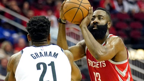 <p>               Houston Rockets' James Harden (13) shoots as Brooklyn Nets' Treveon Graham (21) defends during the first half of an NBA basketball game Wednesday, Jan. 16, 2019, in Houston. (AP Photo/David J. Phillip)             </p>