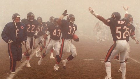 <p>               FILE - In this Dec. 31, 1988, file photo, Chicago Bears free safety Maurice Douglass (37) runs out of the fog and is congratulated by teammates after intercepting a Philadelphia Eagles pass late in the fourth quarter of an NFL football playoff game in Chicago. Chicago's victory in the Fog Bowl 30 years ago is the only time the Bears have defeated the Eagles in three playoff meetings. The Bears get another chance when they host the Eagles in an NFC wild-card game. (AP Photo/Mark Elias, File)             </p>