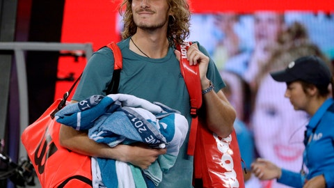 <p>               Greece's Stefanos Tsitsipas smiles as he leaves the court after defeating Georgia's Nikoloz Basilashvili during their third round match at the Australian Open tennis championships in Melbourne, Australia, Friday, Jan. 18, 2019. (AP Photo/Mark Schiefelbein)             </p>