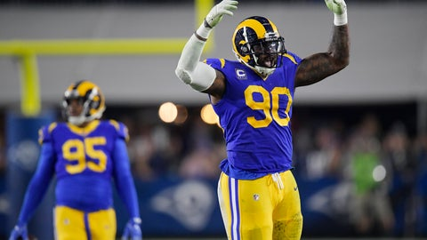 <p>               Los Angeles Rams defensive end Michael Brockers celebrates during the second half in an NFL divisional football playoff game against the Dallas Cowboys Saturday, Jan. 12, 2019, in Los Angeles. (AP Photo/Mark J. Terrill)             </p>