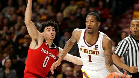 <p>               Minnesota guard Dupree McBrayer (1) drives past Rutgers guard Geo Baker (0) during the first half of an NCAA college basketball game, Saturday, Jan. 12, 2019, in Minneapolis. (AP Photo/Andy Clayton-King)             </p>