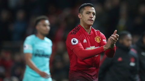 <p>               FILE - In this Saturday, Oct. 6, 2018 file photo, Manchester United's Alexis Sanchez walks from the pitch after their English Premier League soccer match against Newcastle United at Old Trafford in Manchester, England. This week marked a year since Alexis Sanchez left Arsenal and join Manchester United. It was a move that was supposed to revive the career of one of the Premier League's most exciting players but it hasn't worked out. Sanchez is back from a hamstring injury and the first game of his second year at United will be against Arsenal in the FA Cup on Friday, Jan. 25, 2019. (AP Photo/Jon Super, file)             </p>