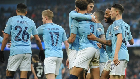 <p>               Manchester City's Kyle Walker, No 2, celebrates with teammates after Rotherham's Semi Ajayi scored an own goal during the English FA Cup third round soccer match between Manchester City and Rotherham United at Etihad stadium in Manchester, England, Sunday, Jan. 6, 2019. (AP Photo/Rui Vieira)             </p>