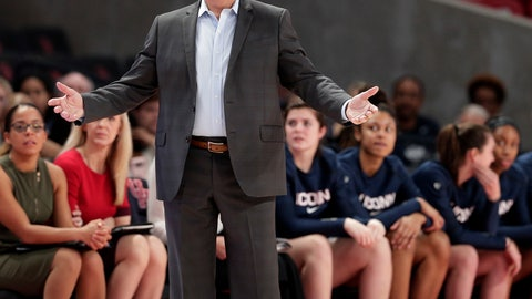 <p>               Connecticut head coach Geno Auriemma reacts to a foul call during the second half of an NCAA college basketball game against Houston Sunday, Jan. 6, 2019, in Houston. (AP Photo/Michael Wyke)             </p>
