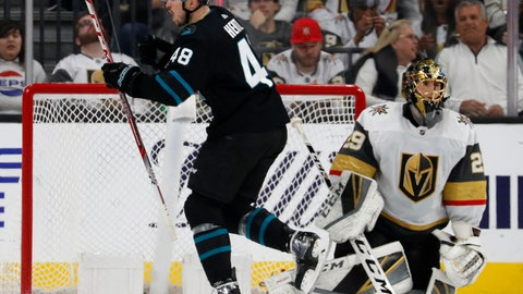 <p>               San Jose Sharks center Tomas Hertl (48) celebrates after scoring against Vegas Golden Knights goaltender Marc-Andre Fleury (29) during the second period of an NHL hockey game Thursday, Jan. 10, 2019, in Las Vegas. (AP Photo/John Locher)             </p>
