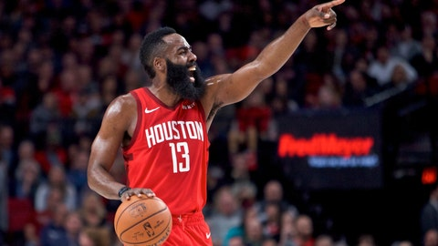<p>               Houston Rockets guard James Harden gestures during the first half of an NBA basketball game against the Portland Trail Blazers in Portland, Ore., Saturday, Jan. 5, 2019. (AP Photo/Craig Mitchelldyer)             </p>