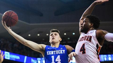 <p>               Kentucky guard Tyler Herro (14) shoots while Auburn's Malik Dunbar (4) defends during the first half of an NCAA college basketball game Saturday, Jan. 19, 2019, in Auburn, Ala. (AP Photo/Julie Bennett)             </p>
