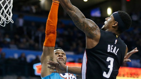 <p>               Washington Wizards guard Bradley Beal (3) shoots as Oklahoma City Thunder guard Russell Westbrook (0) defends in the first quarter of an NBA basketball game in Oklahoma City, Sunday, Jan. 6, 2019. (AP Photo/Sue Ogrocki)             </p>