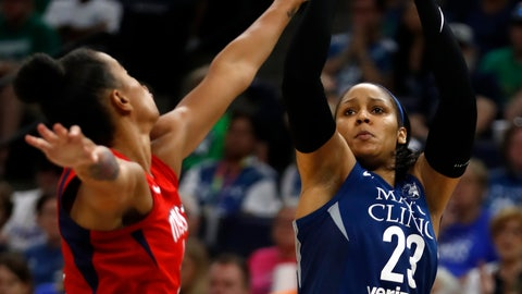 <p>               FILE - In this Sunday, Aug. 19, 2018, file photo, Minnesota Lynx's Maya Moore (23) shoots against the Washington Mystics during a WNBA basketball game, in Minneapolis. According to a person familiar with the deal, Moore has been given the franchise tag by the Lynx for the 2019 season. (Richard Tsong-Taatarii/Star Tribune via AP, File)             </p>