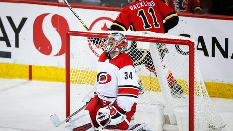 <p>               Carolina Hurricanes goalie Petr Mrazek, left, of the Czech Republic, reacts as Calgary Flames' Mikael Backlund, of Sweden, celebrates his game-winning goal in overtime NHL hockey action in Calgary, Tuesday, Jan. 22, 2019. (Jeff McIntosh/The Canadian Press via AP)             </p>