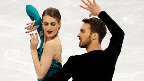 <p>               Gabriella Papadakis and Guillaume Cizeron of France perform in the ice dance rhythm dance at the ISU European figure skating championships in Minsk, Belarus, Friday, Jan. 25, 2019. (AP Photo/Sergei Grits)             </p>