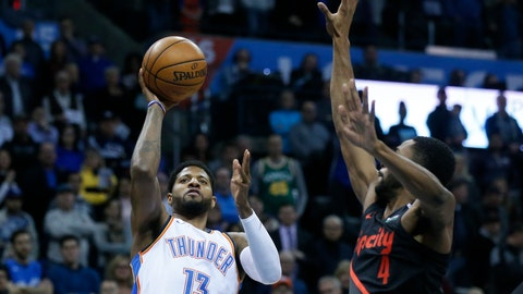 <p>               Oklahoma City Thunder forward Paul George (13) shoots in front of Portland Trail Blazers forward Maurice Harkless (4) in the first half of an NBA basketball game in Oklahoma City, Tuesday, Jan. 22, 2019. (AP Photo/Sue Ogrocki)             </p>