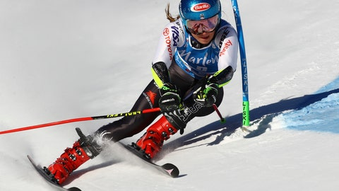 <p>               United States' Mikaela Shiffrin competes during an alpine ski, women's World Cup giant slalom, in Kronplatz, Italy, Tuesday, Jan. 15, 2019. (AP Photo/Marco Trovati)             </p>