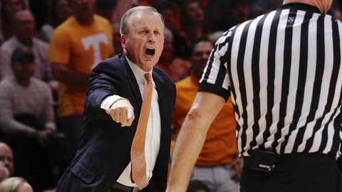 <p>               Tennessee head coach Rick Barnes yells from the bench in the second half of an NCAA college basketball game against Alabama, Saturday, Jan. 19, 2019, in Knoxville, Tenn. Tennessee won 71-68 (AP Photo/Shawn Millsaps)             </p>