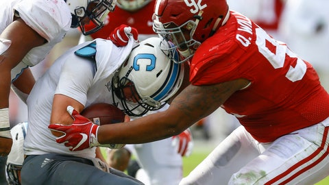 <p>               FILE - In this Nov. 17, 2018, file photo, Citadel quarterback Brandon Rainey (16) is stopped by Alabama defensive lineman Quinnen Williams (92) as he tries to carry the ball during the second half of an NCAA college football game in Tuscaloosa, Ala. Williams is a contender to be the first overall NFL draft pick, held by the Arizona Cardinals. (AP Photo/Butch Dill, File)             </p>