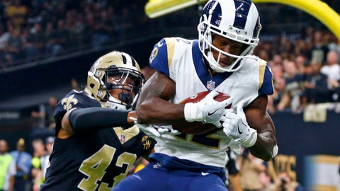<p>               FILE - In this Nov. 4, 2018, file photo, Los Angeles Rams wide receiver Brandin Cooks (12) pulls in a touchdown reception in front of New Orleans Saints free safety Marcus Williams (43) in the first half of an NFL football game in New Orleans. Cooks is the first player in NFL history to have three consecutive 1,000-yard receiving seasons with three different teams.  (AP Photo/Butch Dill, File)             </p>
